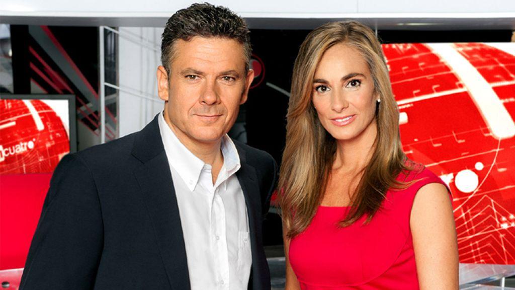 Roberto Arce y Marta Reyero, en 'Noticias Cuatro fin de semana'