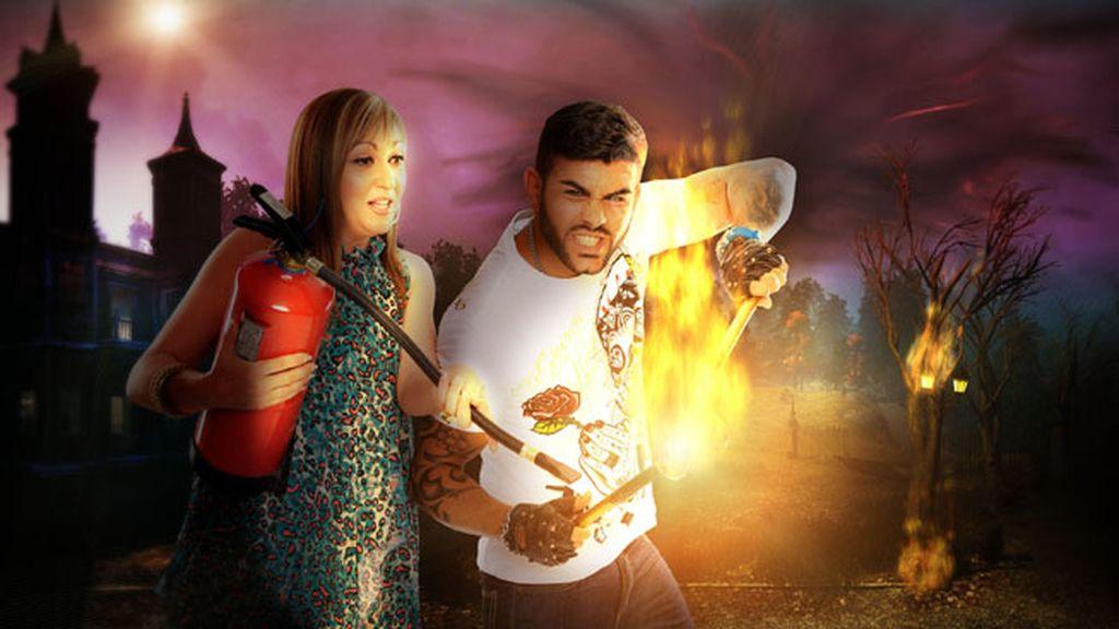 Javier (30 años, realiza actuaciones como escupe fuego) e Isabel. Sevilla
