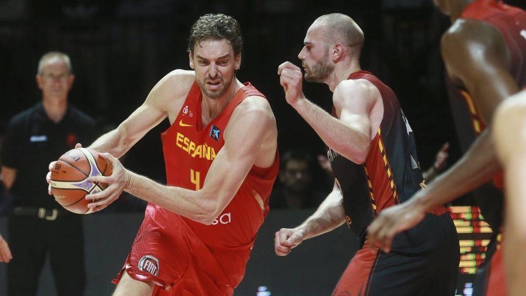 Pau Gasol, durante el partido de preparación para el Eurobasket 2017 Bélgica-España