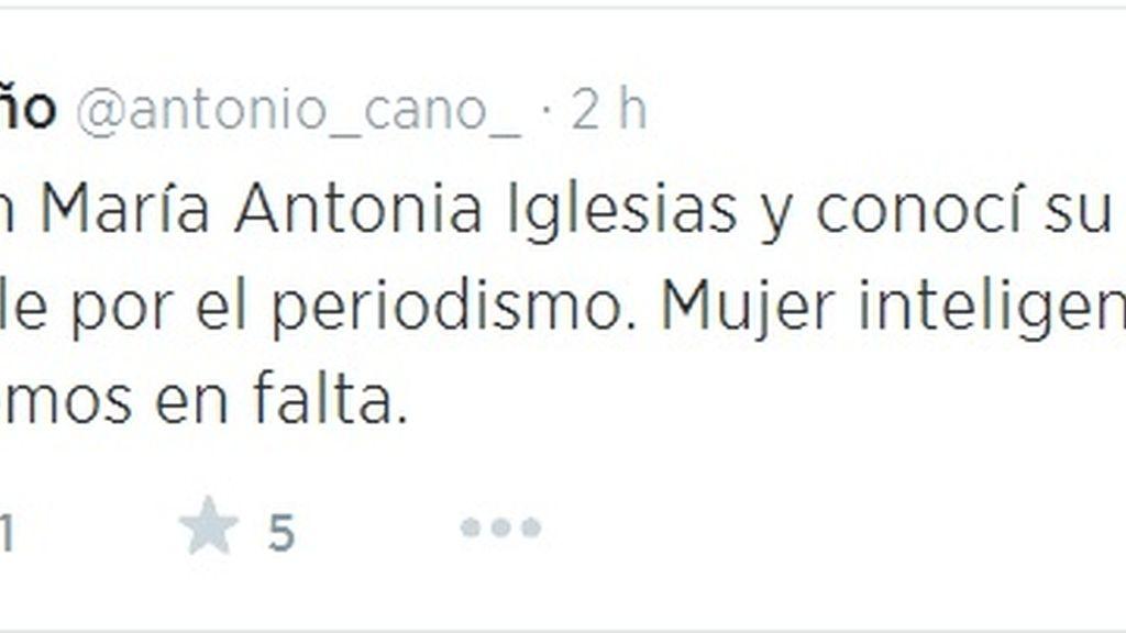Antonio Caño, tuit del director del El País por la muerte de María Antonia Iglesias