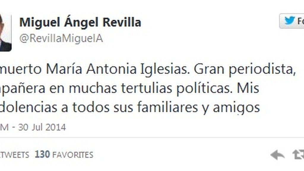 Twitter Miguel Ángel Revilla muerte María Antonia Iglesias
