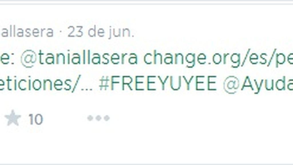 Tuit Tania Llasera #freeYuyee