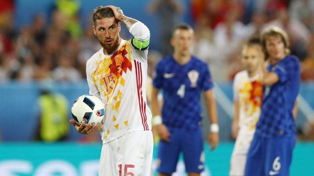 Sergio Ramos en el partido Croacia-España de la Eurocopa 2016