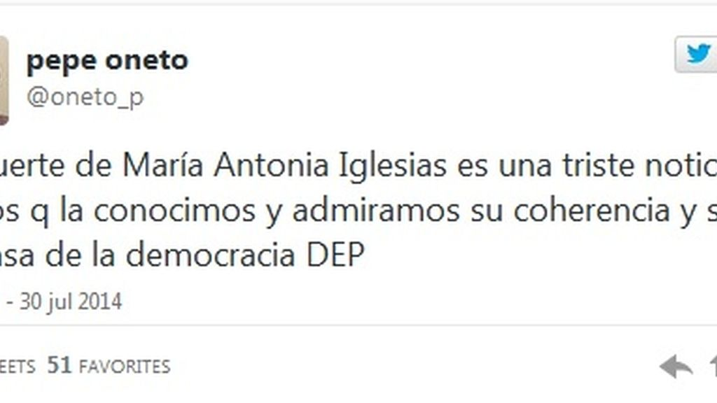 Twitter Pepe Oneto muerte María Antonia Iglesias