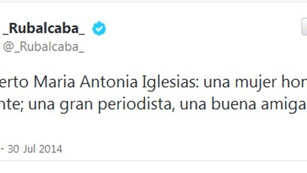 Twitter Rubalcaba muerte María Antonia Iglesias