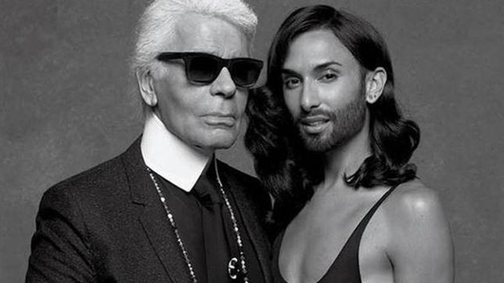 Karl Lagerfeld y Conchita Wurst
