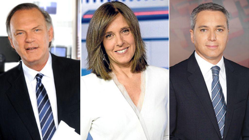 Pedro Piquieras, Ana Blanco y Vicente Vallés, moderadores del debate de la ATV del 26J