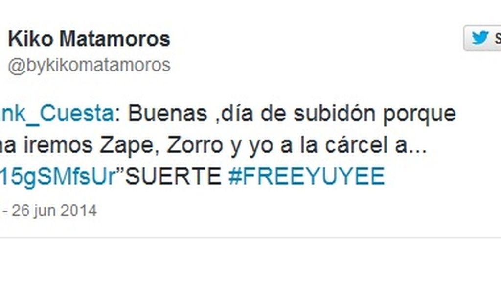 Tuit Kiko Matamoros #freeYuyee
