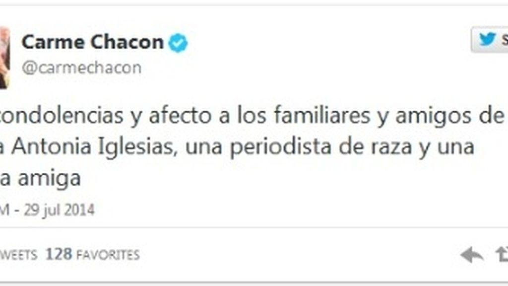 Twitter Carme Chacon muerte María Antonia Iglesias