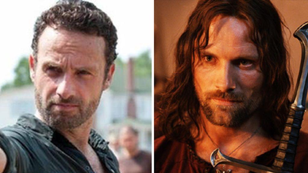 Montaje Rick 'The walking dead' y Aragorn 'El señor de los anillos'