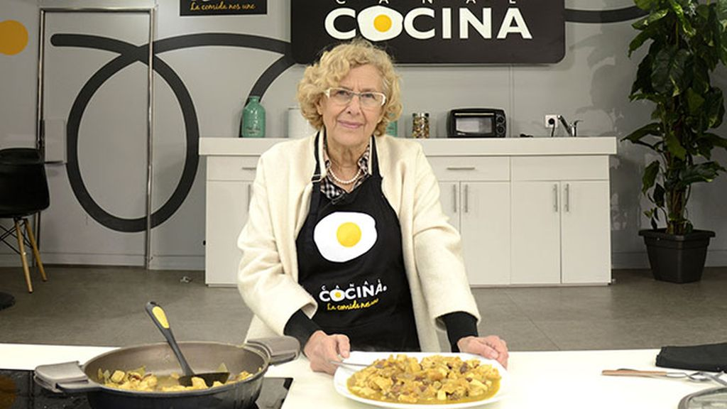 Manuela Carmena, pollo al curry 'in Plaza Mayor'