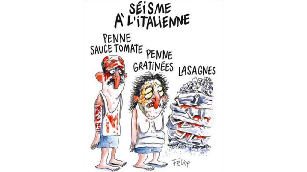 Viñeta revista Charlie Hebdo sobre el terremoto de Italia