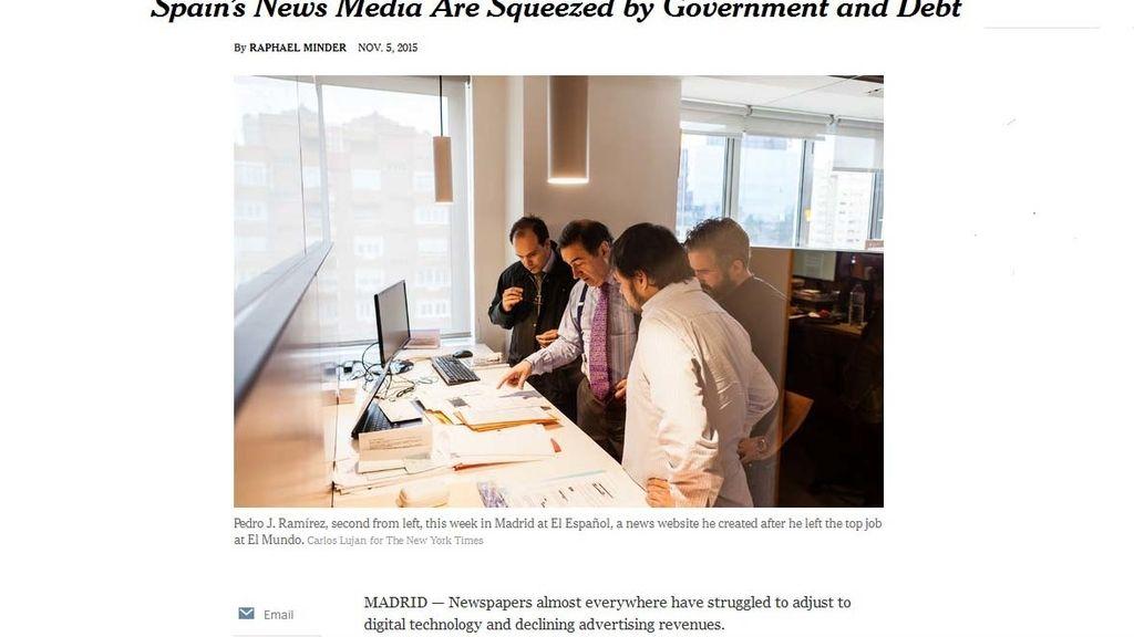 Reportaje sobre los medios españoles en 'The New York Times'