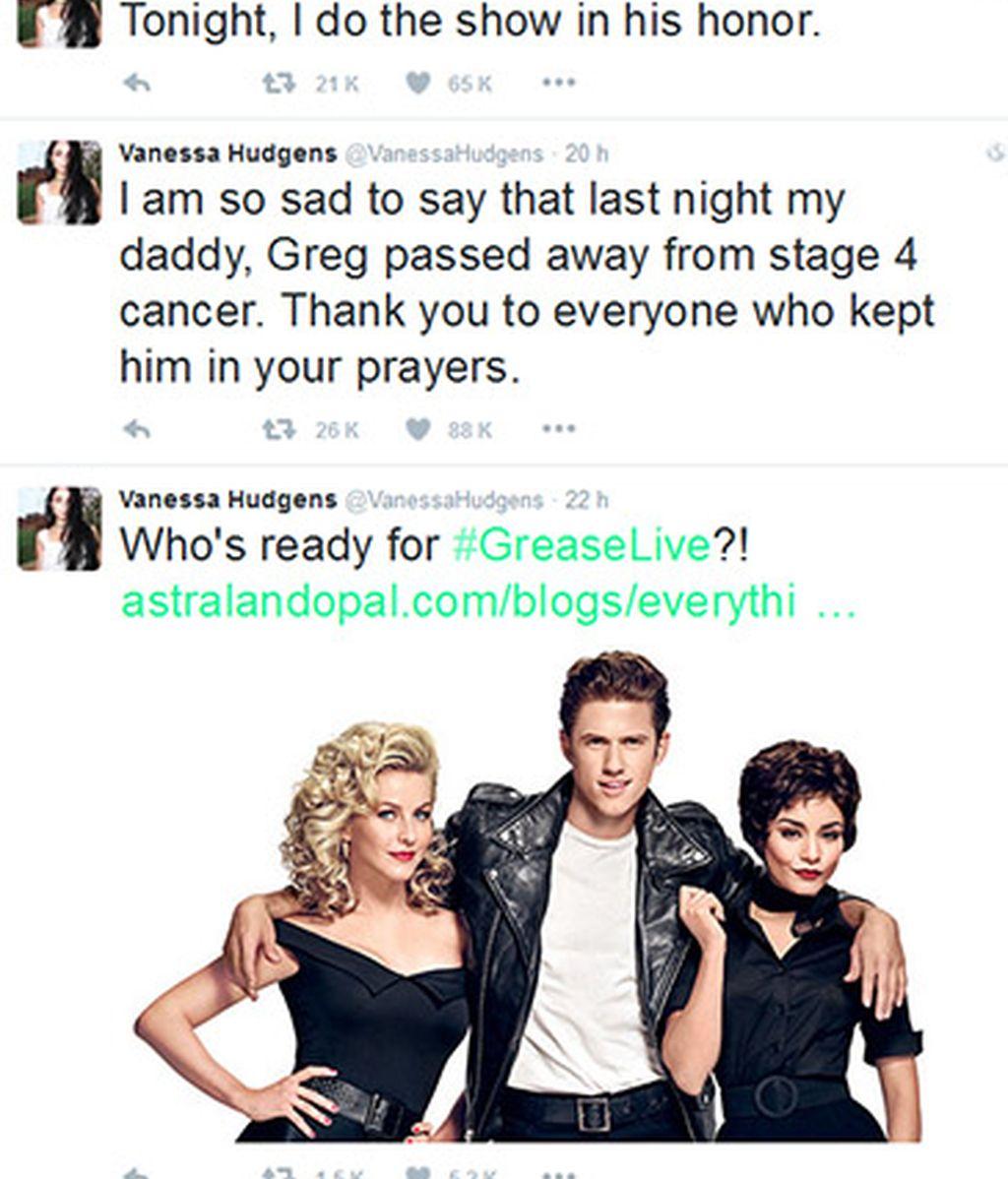 Tuit Vanessa Hudgens fallecimiento de su padre