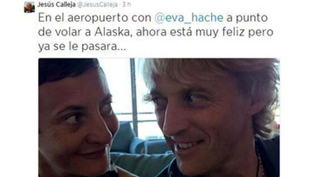 Twitter Jesús Calleja con Eva Hache