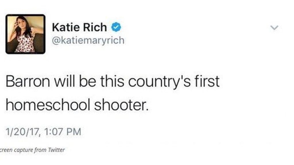 Tuit ofensivo hacia Barron Trump de Katie Rich