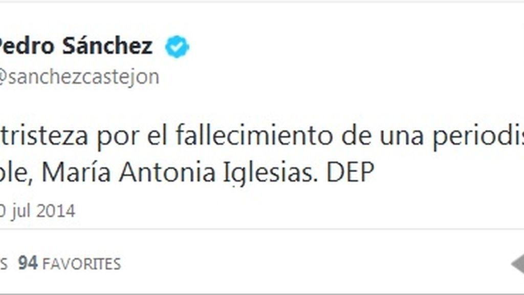 Twitter Pedro Sánchez muerte María Antonia Iglesias