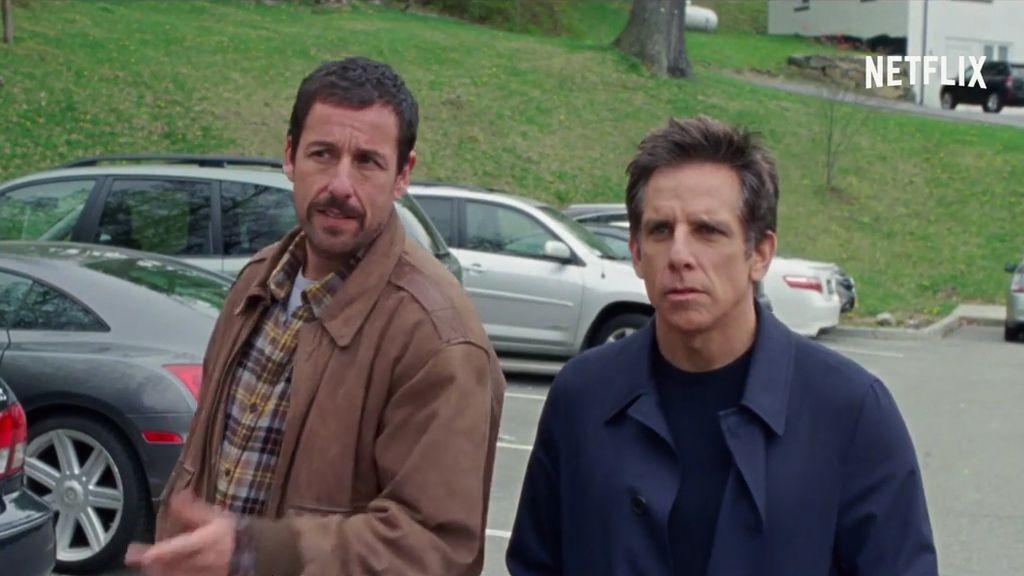 Dustin Hoffman y sus 'hijos' Adam Sandler y Ben Stiller, en Netflix