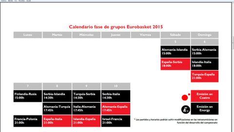 Calendario Eurobasket.Con El Espana Serbia Comienza A Volar El Balon Del