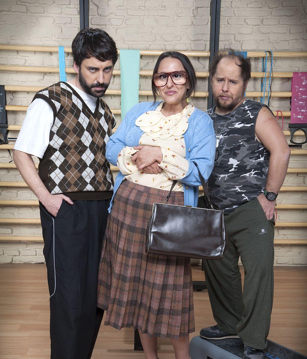 José Troncoso (Carmelo), Tomás Pozzi (Maxi) y Pepa Rus (Secun), en 'Gym Tony L.C.'