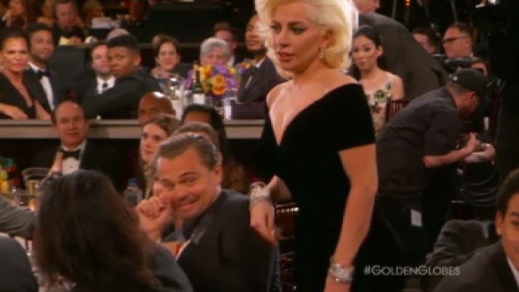 DiCaprio, perplejo con el Globo de Oro para Lady Gaga por 'American Horror Story'