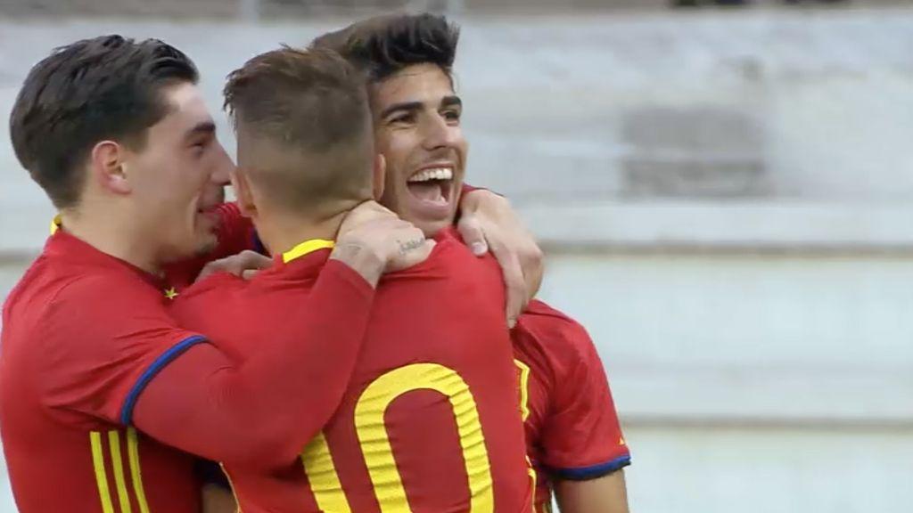 Jugadores de la selección española sub-21, que se enfrenta a Italia en las semifinales del europeo sub-21 emitido en Cuatro