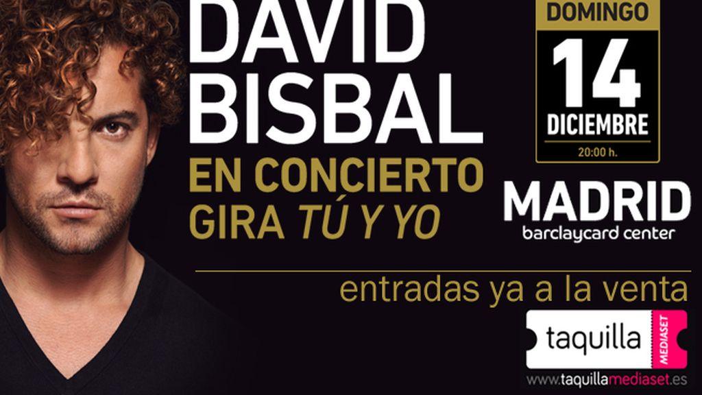 compra en taquilla mediaset tus entradas para ver a David Bisbal el próximo 14 de diciembre en Madrid como cierre de la gira Tú y yo