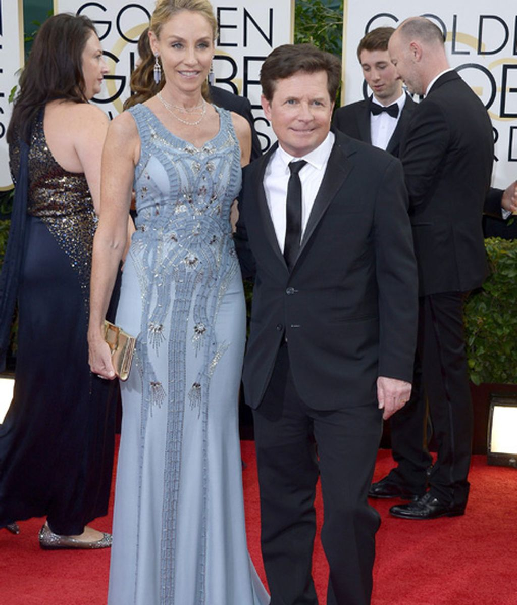 Michael J. Fox, nominado a mejor actor de comedia por 'The Michael J.Fox show', y su esposa, Tracy Pollan