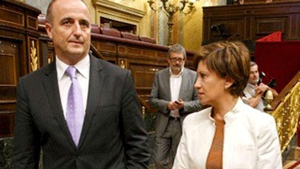 El ministro de Industria, Miguel Sebastián, en el Congreso junto a la titular de Agricultura, Elena Espinosa.