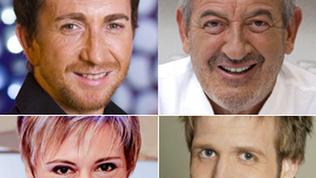 Pablo Motos, Karlos Arguiñano, Gloria Serra y Óscar Martínez (de izquierda a derecha, y de arriba a abajo).