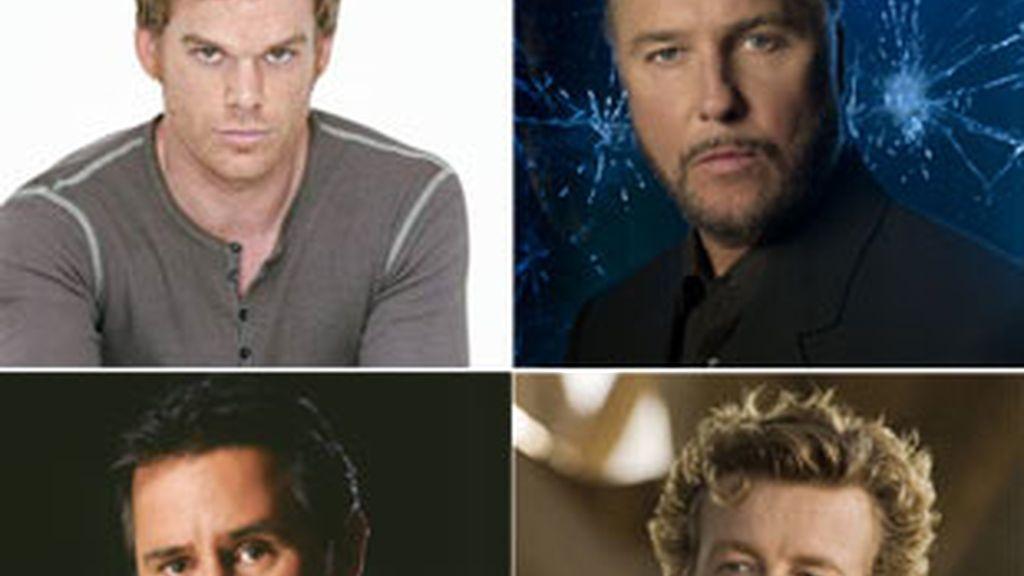De izquierda a derecha y de abajo a arriba: Michael C. Hall ('Dexter'),  William Petersen ('C.S.I.'), Anthony LaPaglia ('Sin rastro') y Simon Baker ('El mentalista).