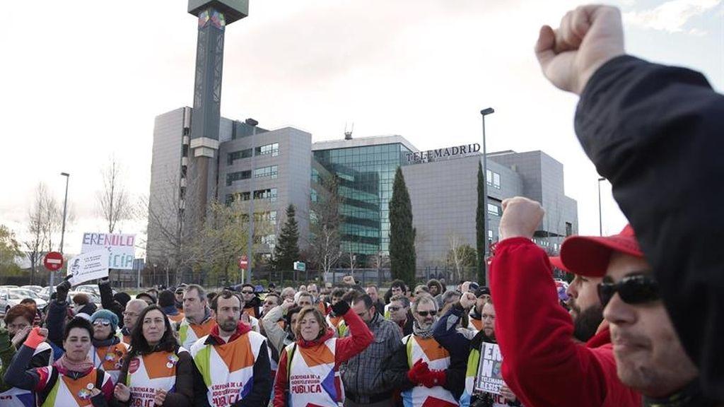 Manifestación trabajadores Telemadrid ERE