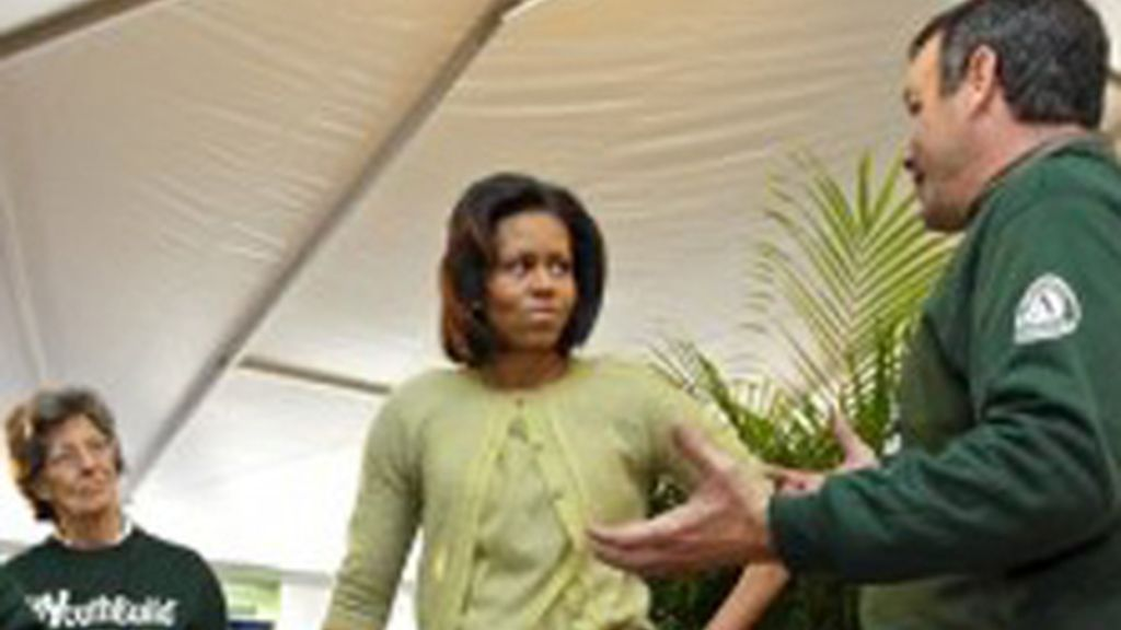 Michelle Obama, en la grabación de 'Extreme Makeover: Home Edition'.