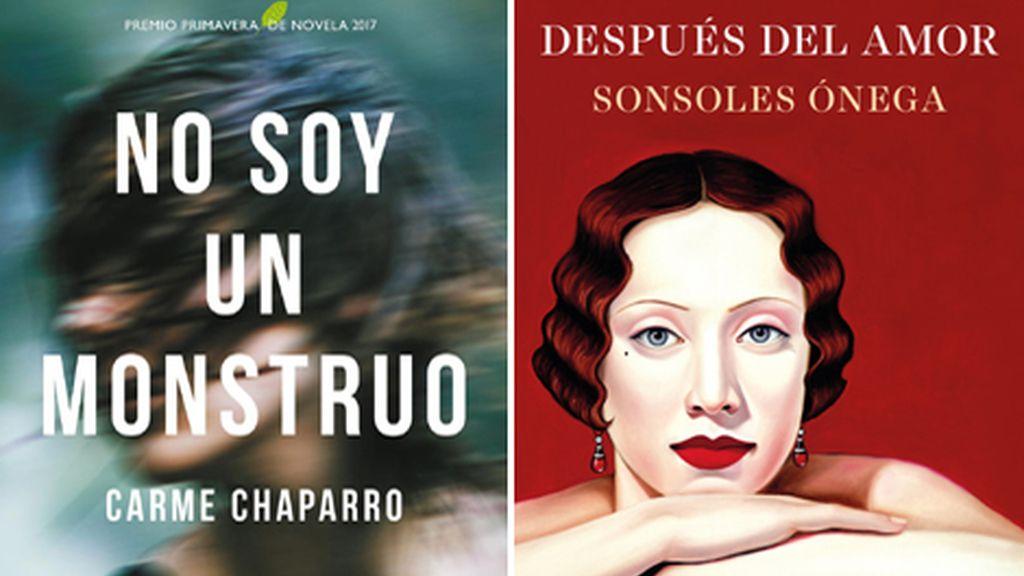 Portadas de los libros 'No soy un monstruo', de Carme Chaparro, y 'Después del amor', de Sonsoles Ónega