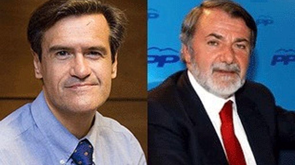 Juan Fernando Aguilar (izquierda), candidato socialista y Jaime Mayor Oreja, candidato del PP.