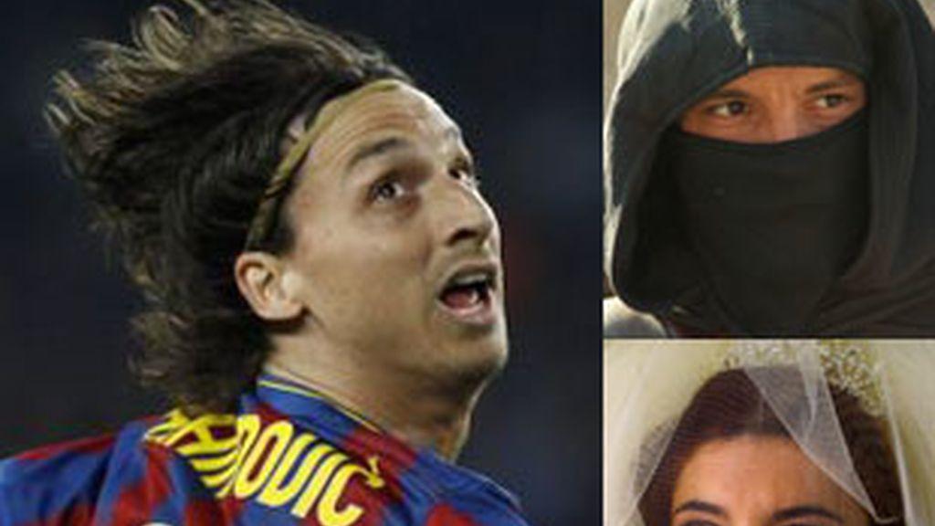 De izquierda a derecha, Ibrahimovic, 'Águila Roja' y 'La duquesa'.