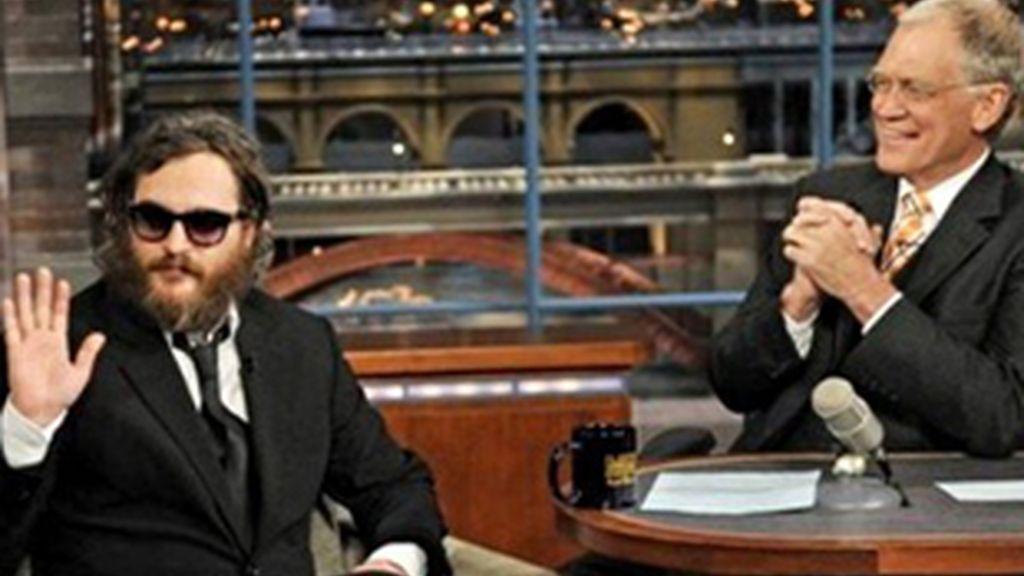 Joaquin Phoenix y David Letterman durante la primera entrevista.
