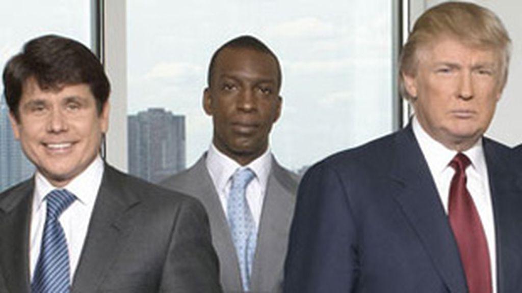 Rod Blagojevich, Michael Johnson  y Donald Trump (de izquierda a derecha).