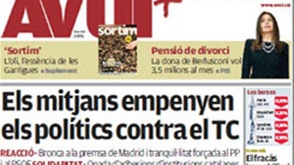 La portada del diario 'Avui' del 27 de noviembre de 2009.