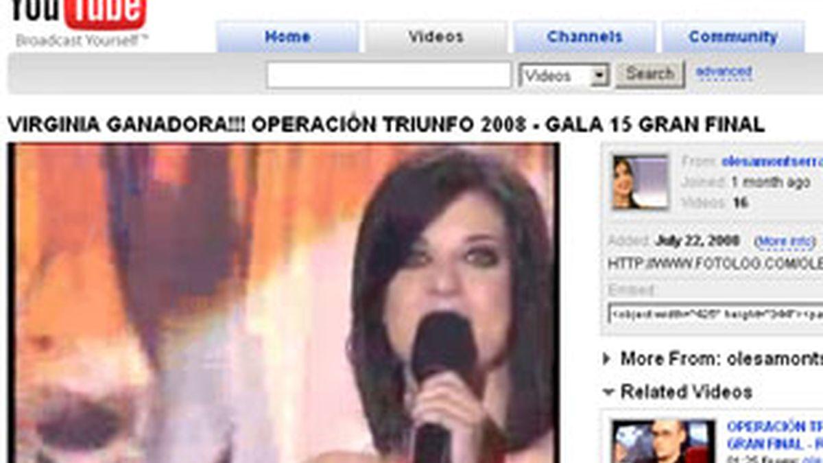 El vídeo de Virginia, ganadora de 'OT', en YouTube.