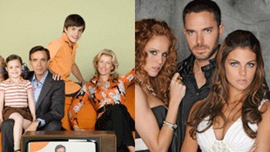Los actores de 'Cuéntame' (izquierda) y 'Sin tetas no hay paraiso'.