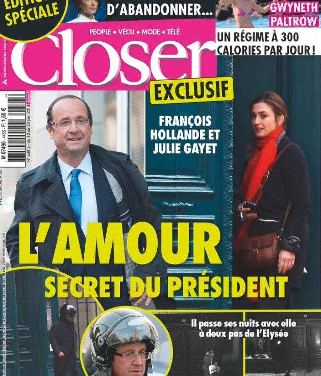 El presidente Hollande en la portada de la revista 'Closer'