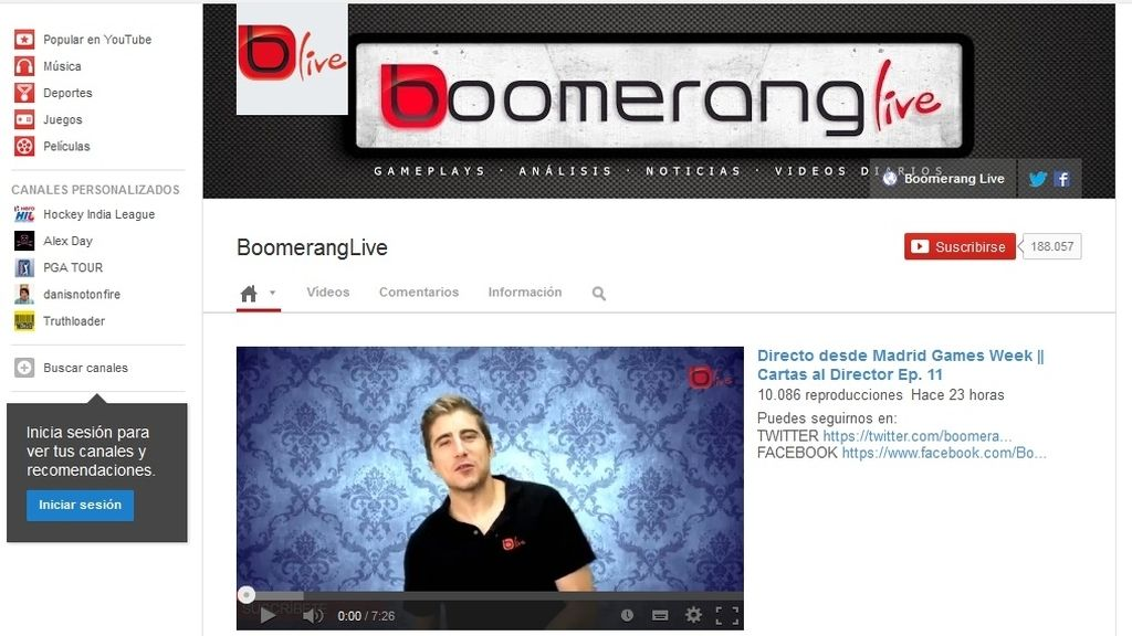 Boomerang Live en YouTube