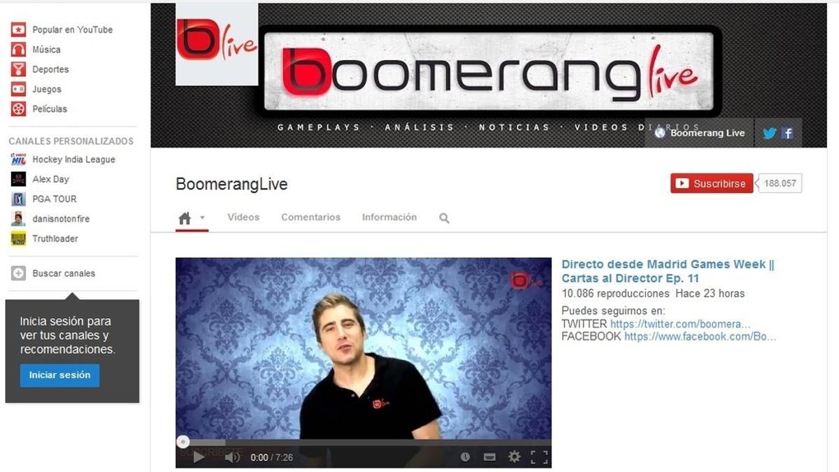 Boomerang Live en YouTube