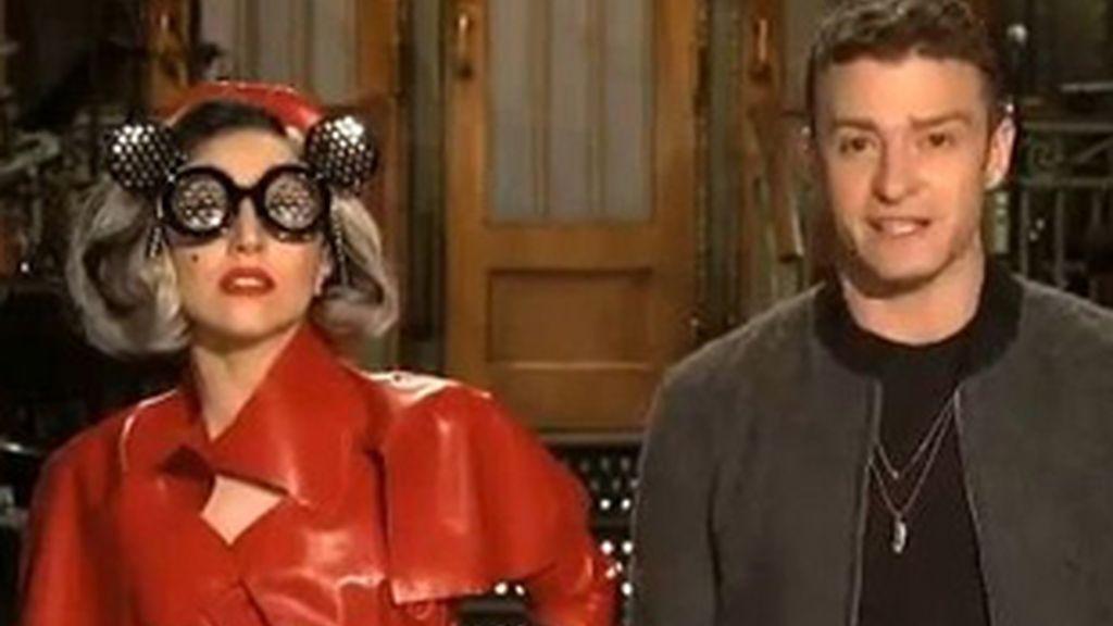 Lady Gaga y Justin Timberlake en el programa 'Saturday night live'.