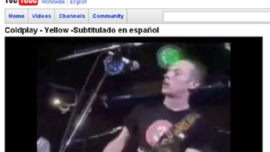 Captura de un vídeo de Coldplay en YouTube.