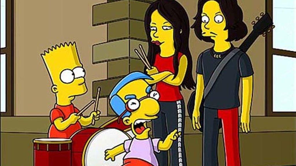 'Los Simpson' parodiaron un videoclip de la banda The White Stripes