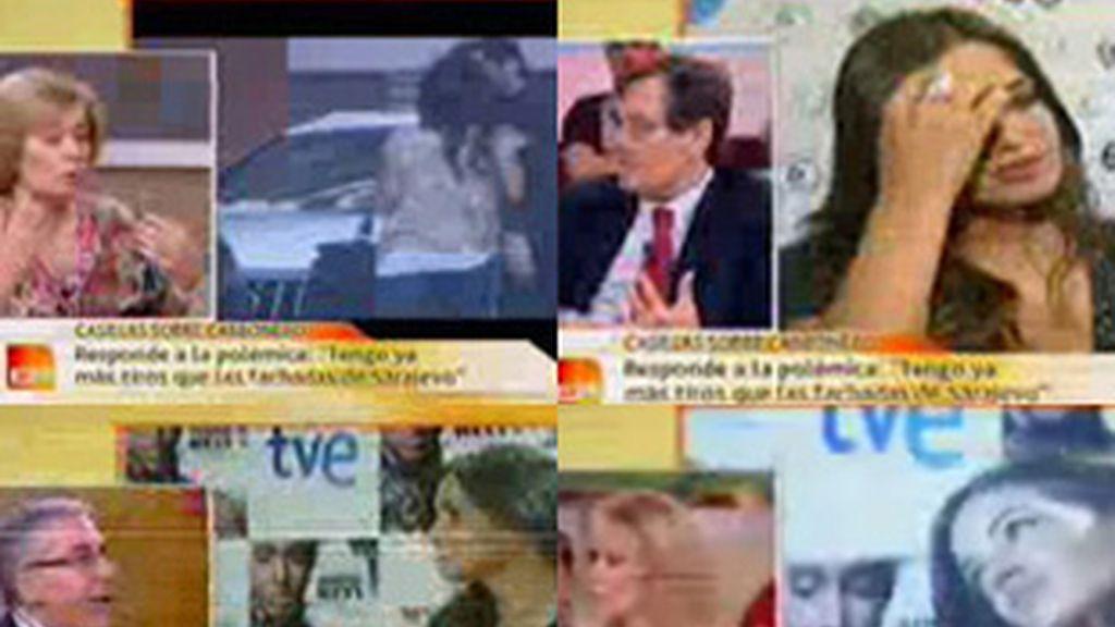 De izquierda a derecha, y de arriba a abajo, Pilar Cernuda, Francisco Marhuenda, Toni Bolaño y Susanna Griso, tertulianos y presentadora de 'Espejo público' (Antena 3).