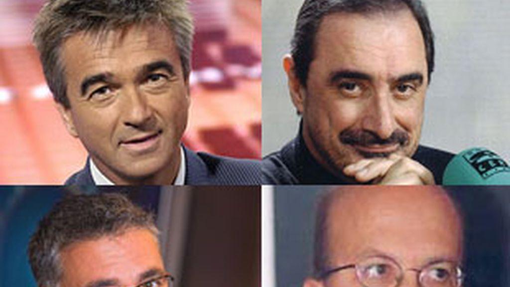 De izquierda a derecha, y de arriba a abajo, Carlos Francino, Carlos Herrera, Juan Ramón Lucas e Ignacio Villa.
