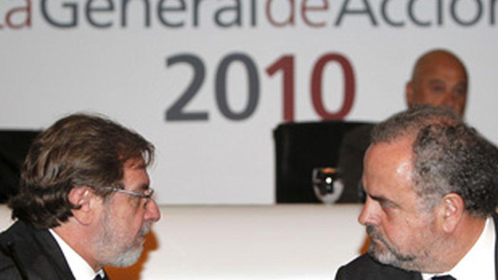 Juan Luis Cebrián e Ignacio Polanco, en la Junta del Grupo Prisa.